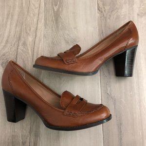 Lands' End Size 10B Brown Leather Pumps Heels